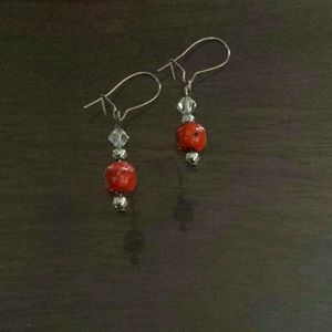 Orange with Crystals Earrings